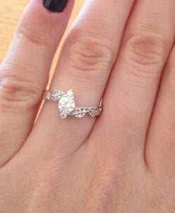 Moissanite Leaf Engagement Ring, Leaves Moissanite Ring