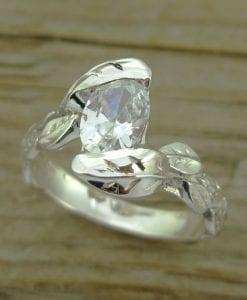 Moissanite Leaves Engagement Ring, Oval Engagement Ring