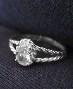 Moissanite Oval Engagement Ring, Oval Moissanite Engagement Ring