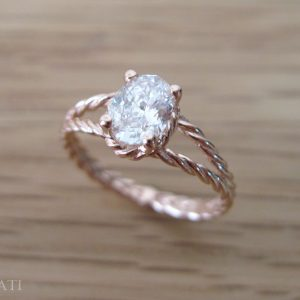 Moissanite Oval Engagement Ring, Oval Moissanite Engagement Ring