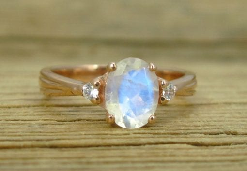 Moonstone Antique Engagement Ring, 18K Oval Moonstone Rose Gold Ring