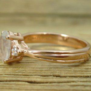 Moonstone Antique Engagement Ring, 18K Oval Moonstone Rose Gold Ring