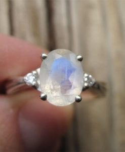 Moonstone Antique Engagement Ring with Diamonds, Antique Gold Ring