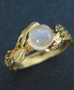 Moonstone cabochon Ring, Unique Engagement Ring