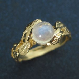 Moonstone cabochon Ring, Unique Engagement Ring
