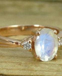 Moonstone Engagement Ring, Antique Gold Ring