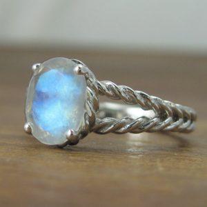 Moonstone Engagement Ring, Gold Moonstone Ring