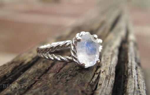 Moonstone Engagement Ring, Gold Moonstone Ring