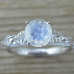 Moonstone Engagement Ring, Leaf Engagement Ring