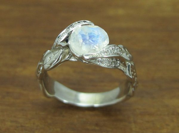 Moonstone Engagement Ring, Leaves Ring With Moonstone