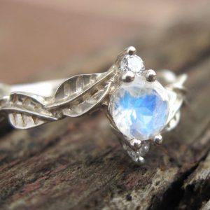 Moonstone Engagement Ring, Moonstone Leaf Engagement Ring