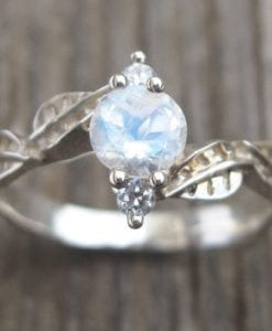 Moonstone Engagement Ring, Moonstone Leaf Engagement Ring