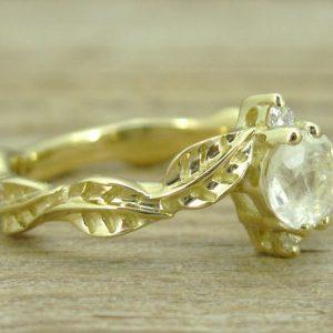Moonstone Engagement Ring, Moonstone Leaves Engagement Ring