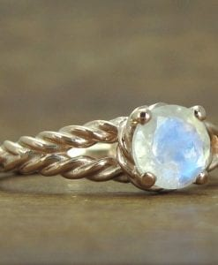 Moonstone Engagement Ring, Moonstone Rose Gold Engagement Ring