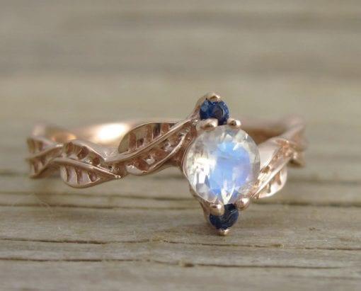 Moonstone Leaf Engagement Ring, Leaf Engagement Ring