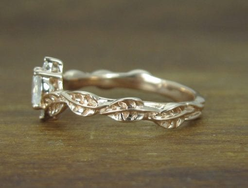 Moonstone Leaf Engagement Ring, Leaf Engagement Ring Rose Gold