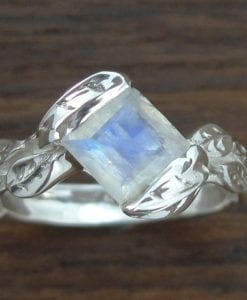 Moonstone Leaf Engagement Ring, Princess Cut Moonstone Leaves Engagement Ring
