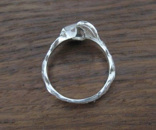 Moonstone Leaf Engagement Ring, Princess Cut Moonstone Leaves Engagement Ring
