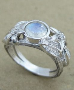 Moonstone Leaf Ring, White Gold Moonstone Ring
