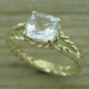 Morganite Engagement Ring,  Gold Morganite Braided Rope Engagement Ring