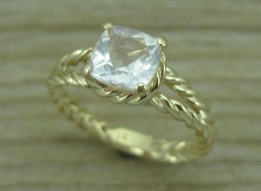 Morganite Engagement Ring,  Gold Morganite Braided Rope Engagement Ring