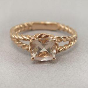 Morganite Engagement Ring, Rose Gold Morganite Braided Rope Engagement Ring
