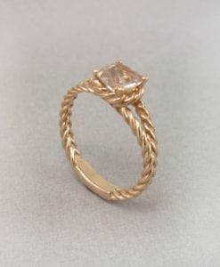 Morganite Engagement Ring, Rose Gold Morganite Braided Rope Engagement Ring
