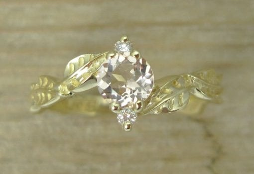 Morganite Leaf Engagement Ring, Gold Leaves Morganite Engagement Ring