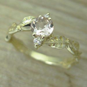 Morganite Leaf Engagement Ring, Gold Leaves Morganite Engagement Ring