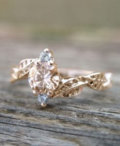 Morganite Leaf Engagement Ring, Rose Gold Morganite Band