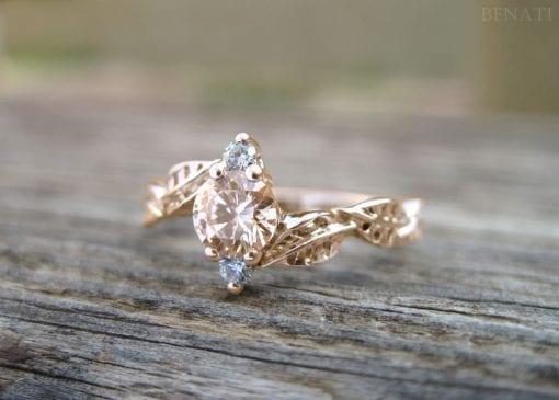 Morganite Leaf Engagement Ring, Rose Gold Morganite Band