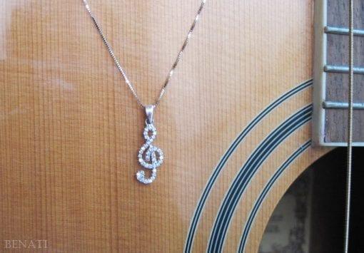 Music note diamond pendant, Treble Clef diamond pendant