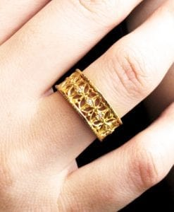My Italiano gold ring with diamonds - open detailed metal work, Gold wedding ring diamond setted
