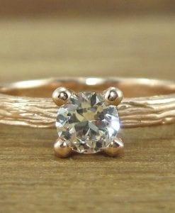 Natural Engagement Ring, Rose gold Bark Engagement Ring
