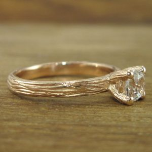 Natural Engagement Ring, Rose gold Bark Engagement Ring