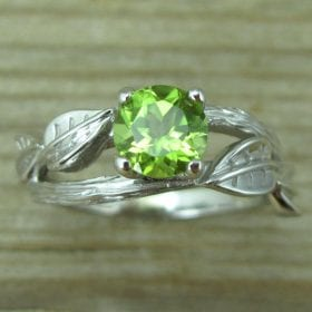 Natural Leaf Peridot Engagement Set, Leaves Wood Engagement Set