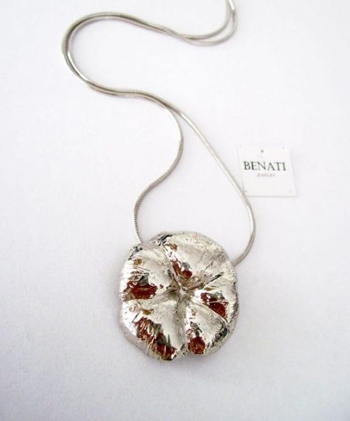 On Sale - Bold flower pendant - Flower necklace - Big flower silver necklace - Bold natural flower pendant - Silver flower pendant on chain