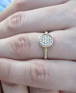On sale - Diamond Disk With Twisted Rope Band, Twisted Rope Knot Diamond Ring