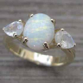 Opal Engagement Ring, Moonstone Engagement Ring