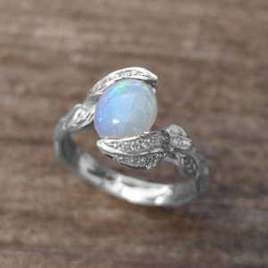 Opal Engagement Ring, Opal Leaves Ring