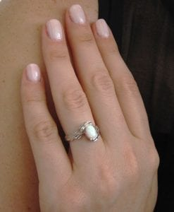 Opal Engagement Ring, Oval Opal Leaves Engagement Ring