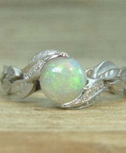 Opal Leaf Engagement Ring, Leaf Opal Ring
