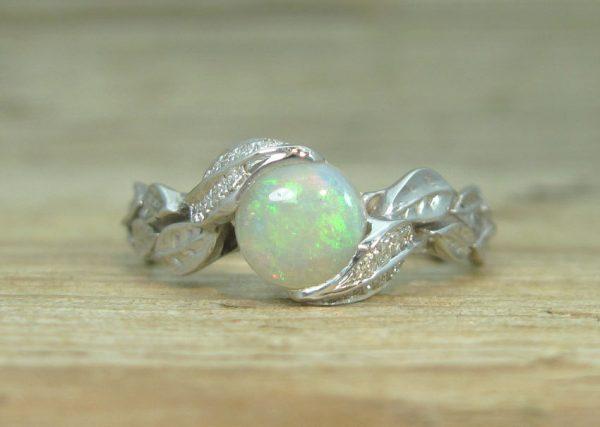 Opal Leaf Engagement Ring, Leaf Opal Ring