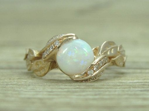 Opal Leaf Engagement Rose Gold Ring, Leaf Opal Ring