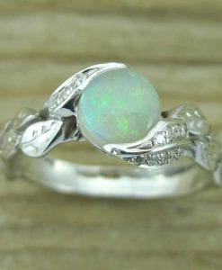 Opal Leaf Ring, Opal Engagement Ring
