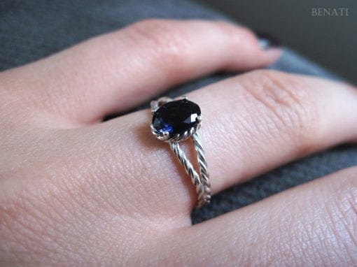 Oval Braided Rope Ring - 14k White Gold - Oval Violet Purple Blue Iolite Natural Gemstone - New Designer Gold Twisted Rope Engagement Ring