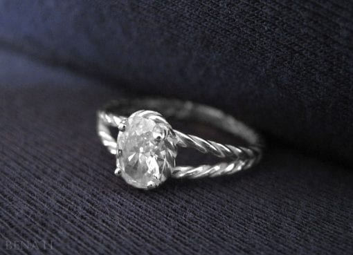 Oval Diamond Twisted Rope Engagement ring, Oval Diamond Engagement ring