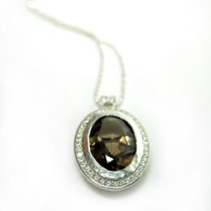 Oval smoky quartz pendant pave set in sterling silver, silver smokey quartz necklace in silver