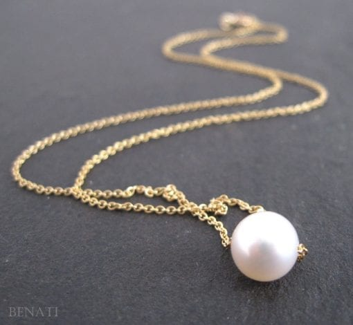 Pearl with gold necklace, Single pearl gold necklace