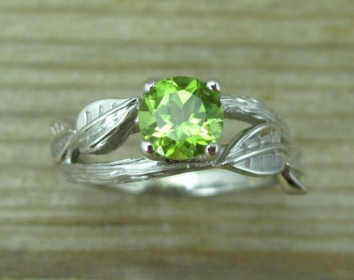 Peridot Engagement Ring, Leaf Engagement Ring With Peridot